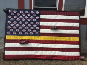 Flag made of fire hoses